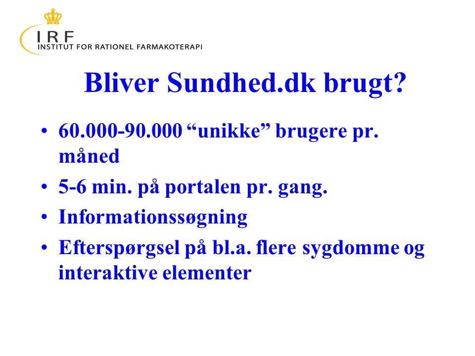 Bliver Sundhed.dk brugt. 60.000-90.000 unikke brugere pr.