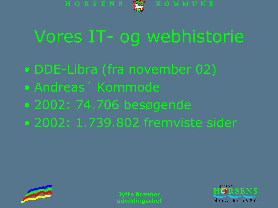 Jytte Bræmer udviklingschef Vores IT- og webhistorie DDE-Libra (fra november 02) Andreas´ Kommode 2002: 74.706 besøgende 2002: 1.739.802 fremviste sider