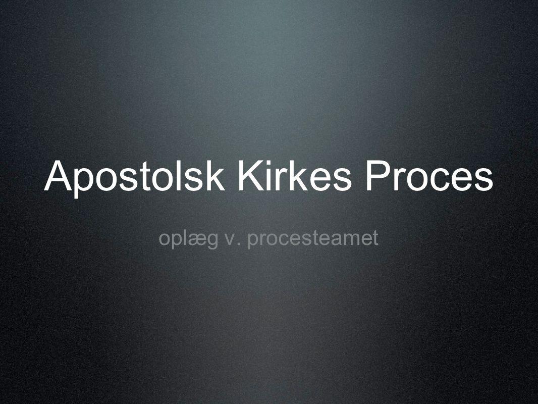 Apostolsk Kirkes Proces oplæg v. procesteamet