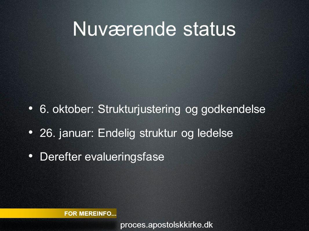 Nuværende status 6. oktober: Strukturjustering og godkendelse 26.
