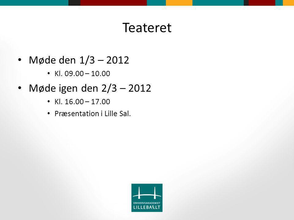 Teateret Møde den 1/3 – 2012 Kl. 09.00 – 10.00 Møde igen den 2/3 – 2012 Kl.