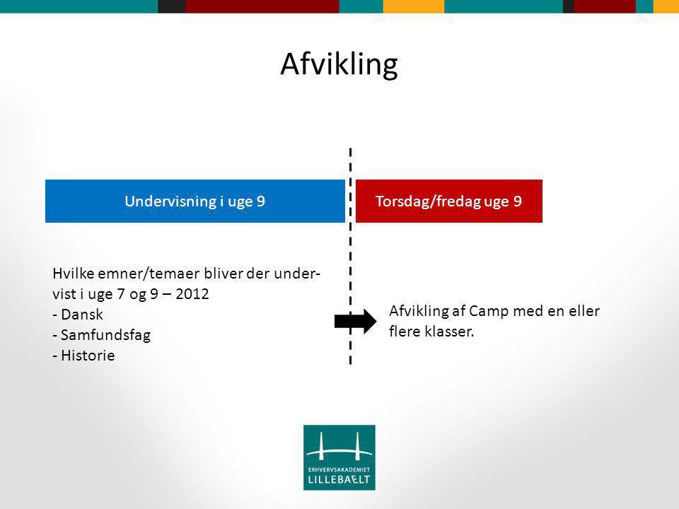 Afvikling Torsdag/fredag uge 9Undervisning i uge 9 Hvilke emner/temaer bliver der under- vist i uge 7 og 9 – 2012 - Dansk - Samfundsfag - Historie Afvikling af Camp med en eller flere klasser.