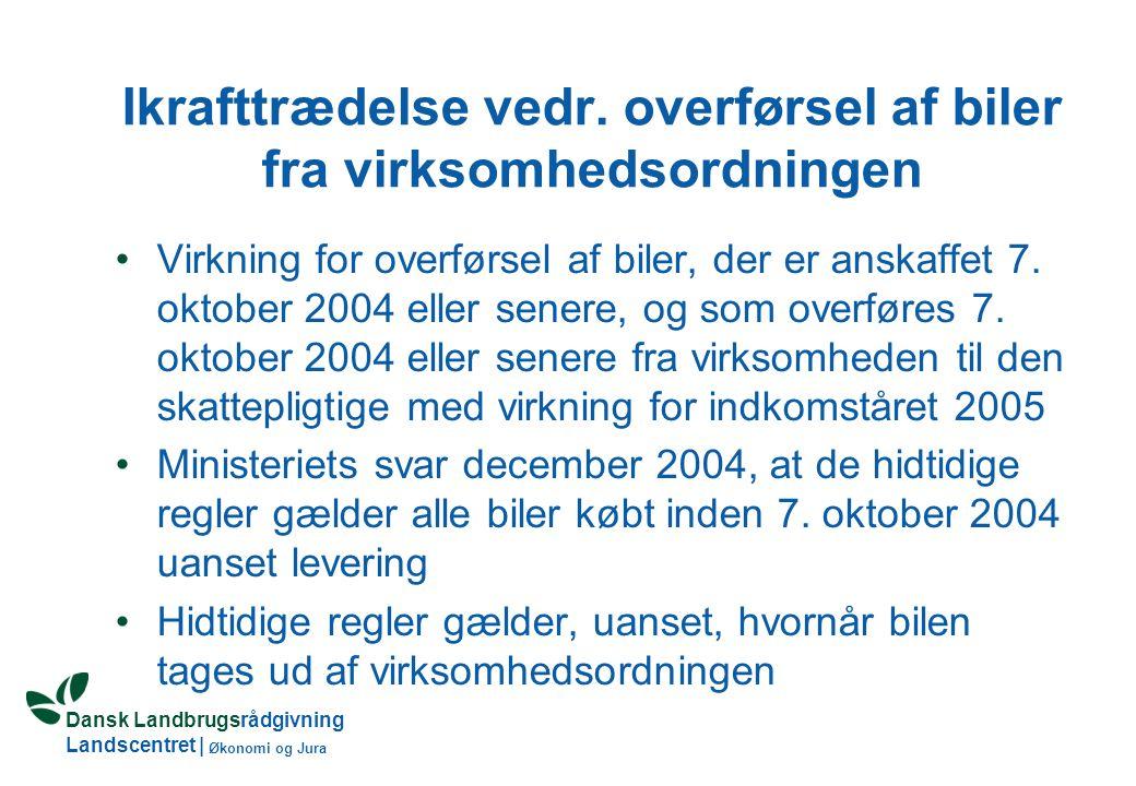 Dansk Landbrugsrådgivning Landscentret | Økonomi og Jura Ikrafttrædelse vedr.