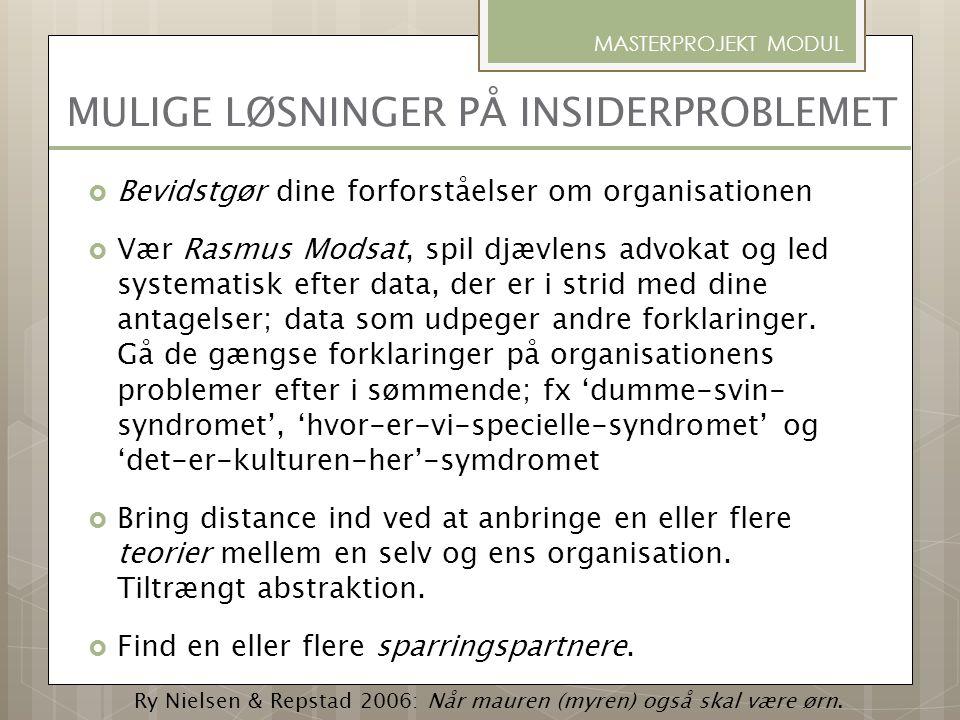 MULIGE LØSNINGER PÅ INSIDERPROBLEMET  Bevidstgør dine forforståelser om organisationen  Vær Rasmus Modsat, spil djævlens advokat og led systematisk