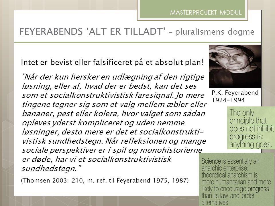 FEYERABENDS 'ALT ER TILLADT' – pluralismens dogme MASTERPROJEKT MODUL P.K. Feyerabend 1924-1994 Intet er bevist eller falsificeret på et absolut plan!