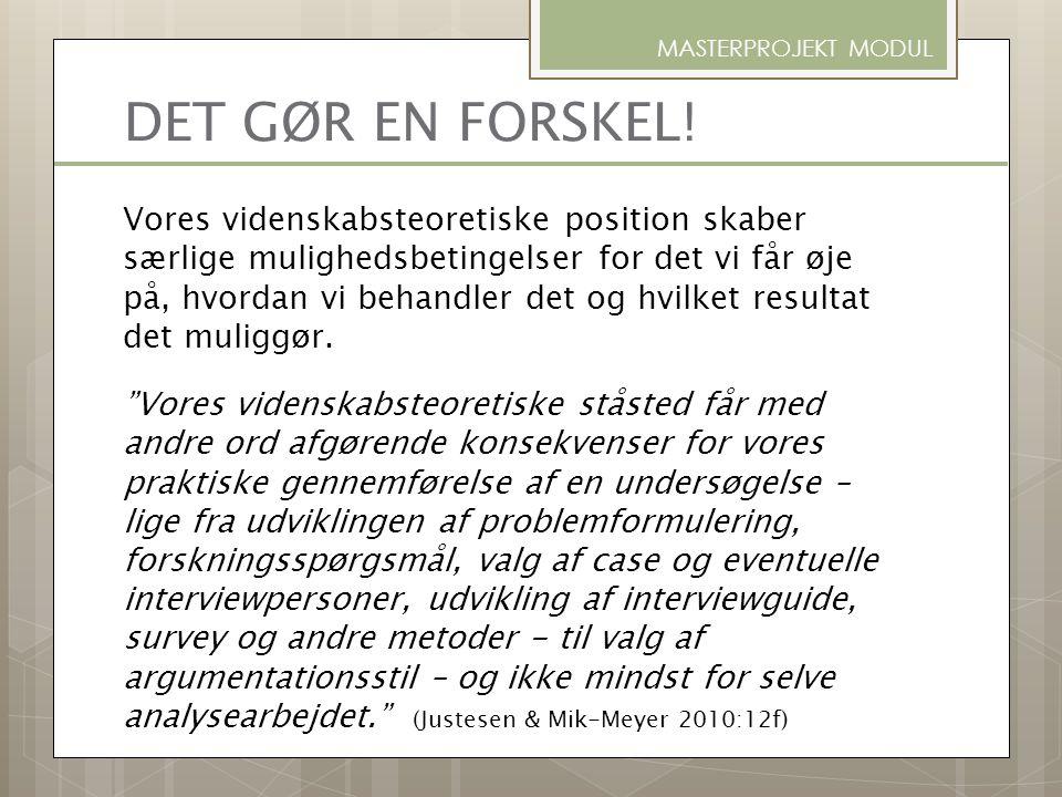 REALISTISK PARADIGME FÆNOMENOLOGISK PARADIGME KONSTRUKTIVISTISK PARADIGME METODOLOGI (eks.