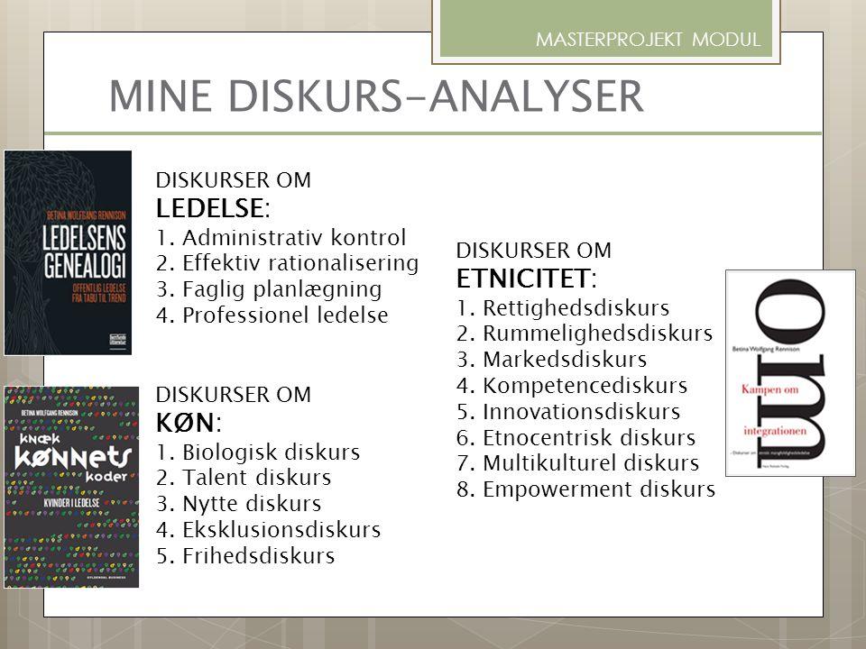 MINE DISKURS-ANALYSER DISKURSER OM LEDELSE: 1. Administrativ kontrol 2. Effektiv rationalisering 3. Faglig planlægning 4. Professionel ledelse DISKURS