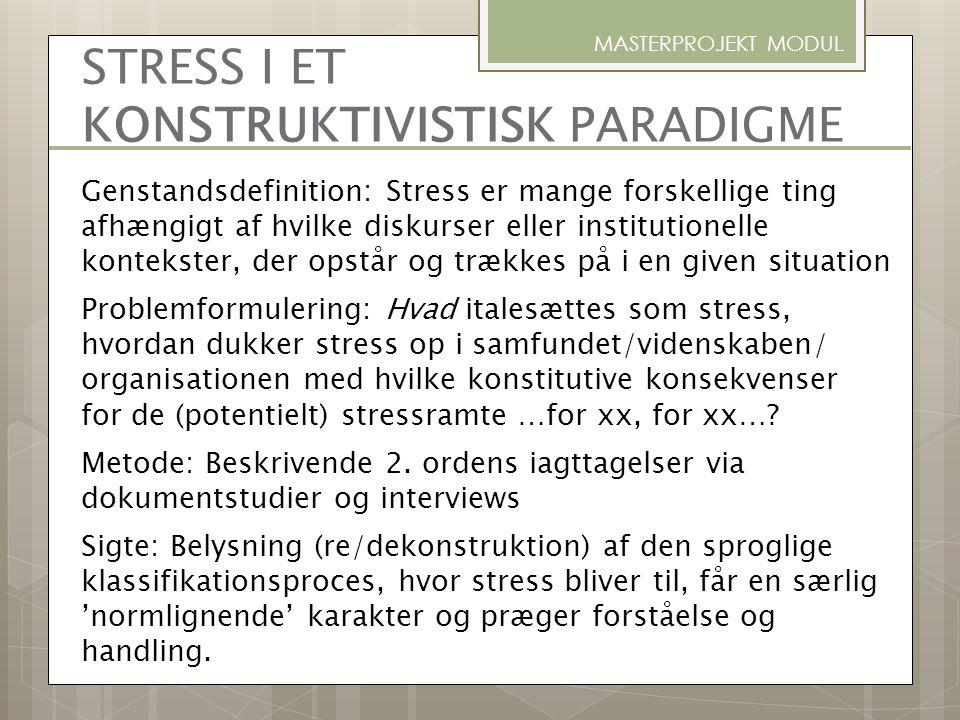 MASTERPROJEKT MODUL Genstandsdefinition: Stress er mange forskellige ting afhængigt af hvilke diskurser eller institutionelle kontekster, der opstår o