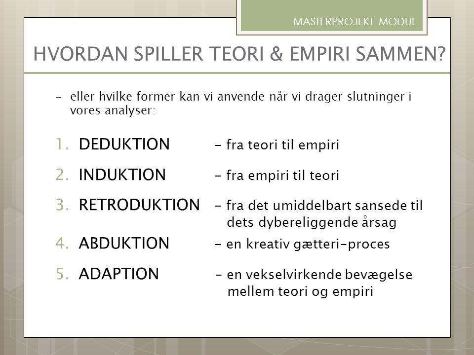 HVORDAN SPILLER TEORI & EMPIRI SAMMEN? 1.DEDUKTION - fra teori til empiri 2.INDUKTION - fra empiri til teori 3.RETRODUKTION - fra det umiddelbart sans