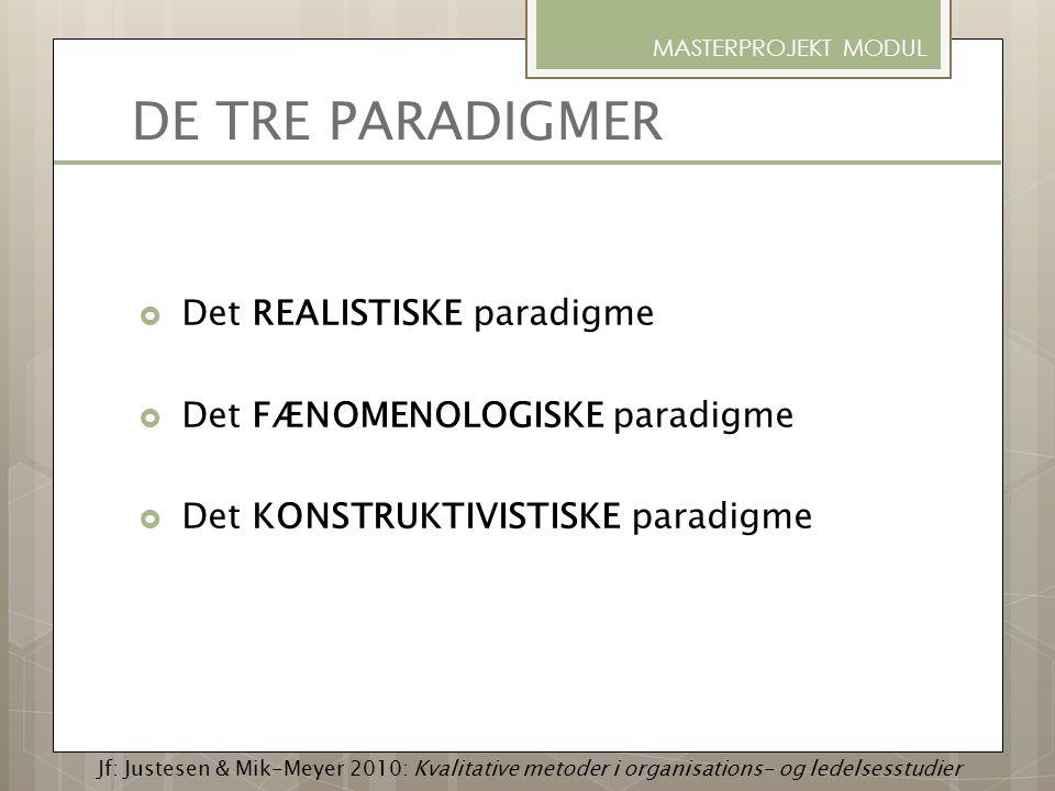 DE TRE PARADIGMER  Det REALISTISKE paradigme  Det FÆNOMENOLOGISKE paradigme  Det KONSTRUKTIVISTISKE paradigme MASTERPROJEKT MODUL Jf: Justesen & Mi