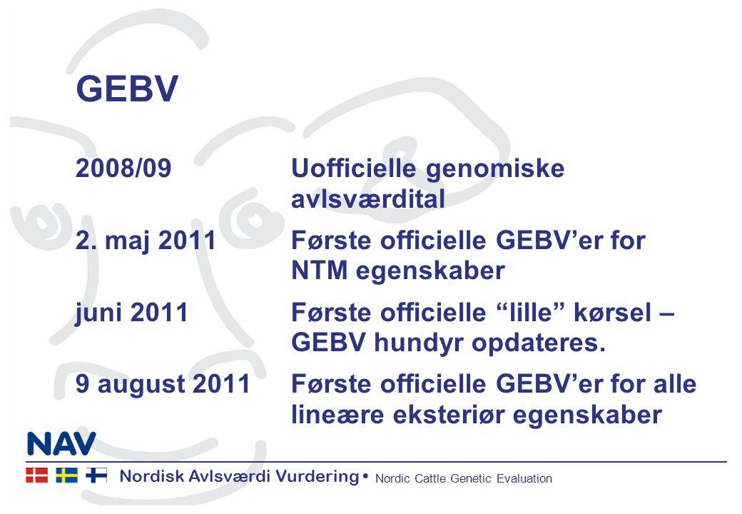 Nordisk Avlsværdi Vurdering Nordic Cattle Genetic Evaluation GEBV 2008/09 Uofficielle genomiske avlsværdital 2.