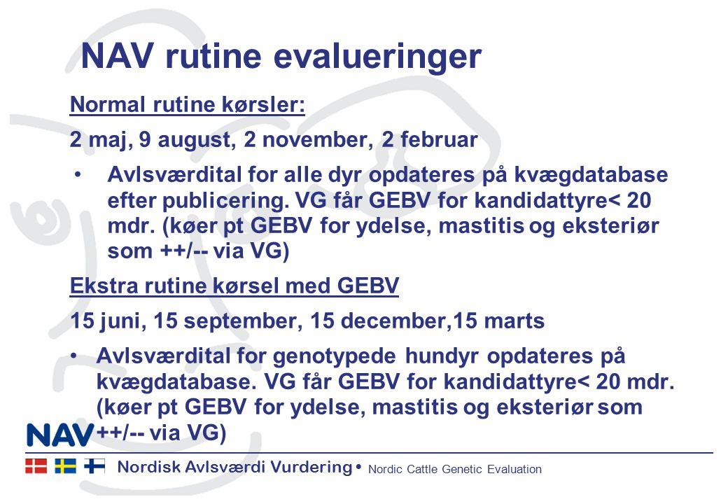 Nordisk Avlsværdi Vurdering Nordic Cattle Genetic Evaluation NAV rutine evalueringer Normal rutine kørsler: 2 maj, 9 august, 2 november, 2 februar Avlsværdital for alle dyr opdateres på kvægdatabase efter publicering.