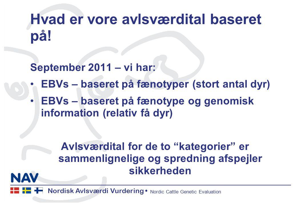 Nordisk Avlsværdi Vurdering Nordic Cattle Genetic Evaluation Hvad er vore avlsværdital baseret på.