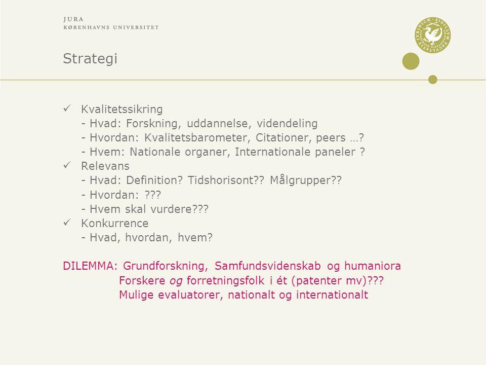 Strategi Kvalitetssikring - Hvad: Forskning, uddannelse, videndeling - Hvordan: Kvalitetsbarometer, Citationer, peers ….