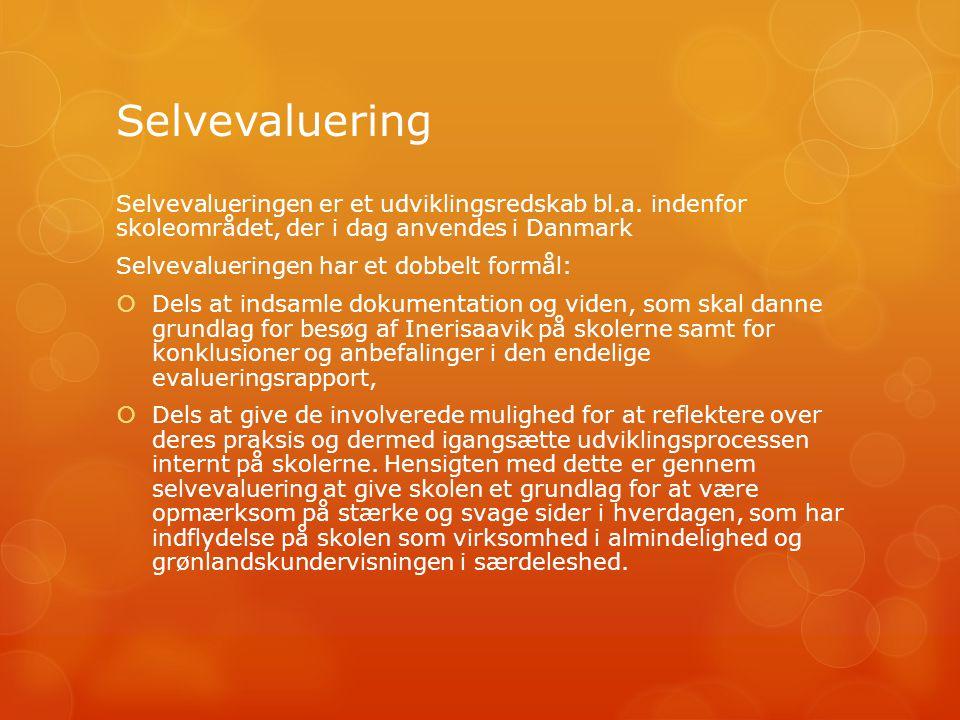 Selvevaluering Selvevalueringen er et udviklingsredskab bl.a.