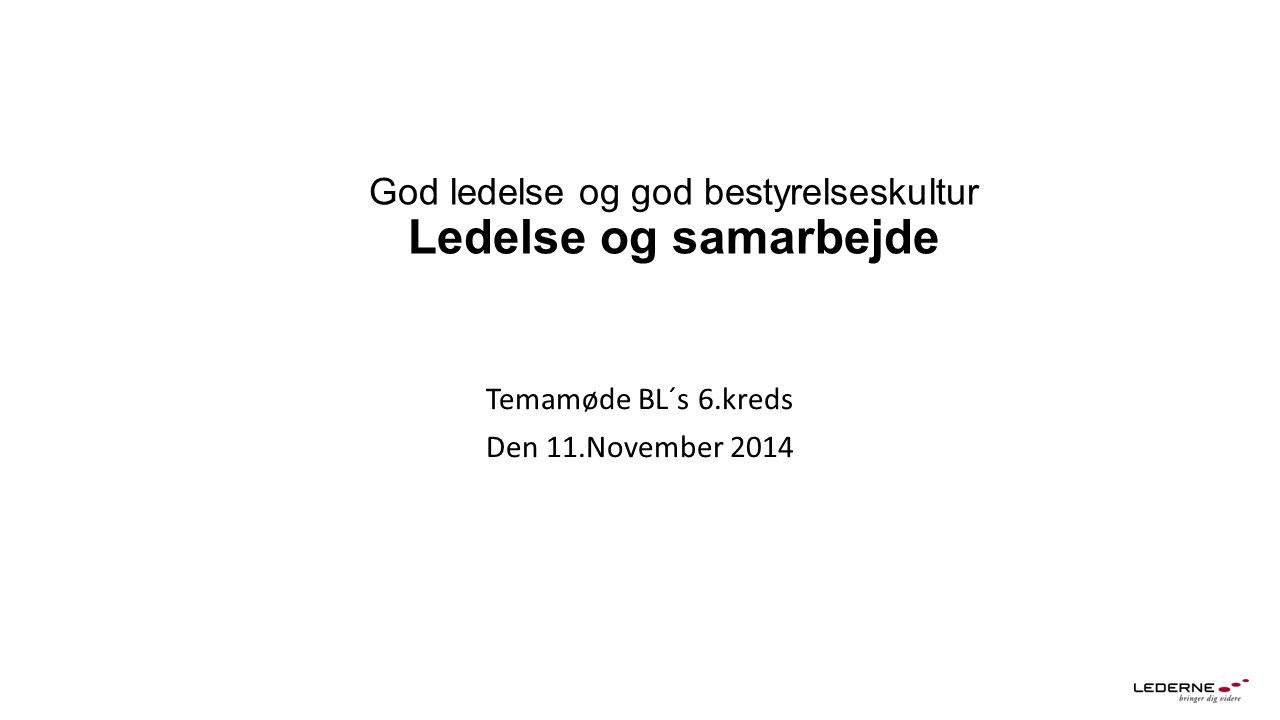 God ledelse og god bestyrelseskultur Ledelse og samarbejde Temamøde BL´s 6.kreds Den 11.November 2014
