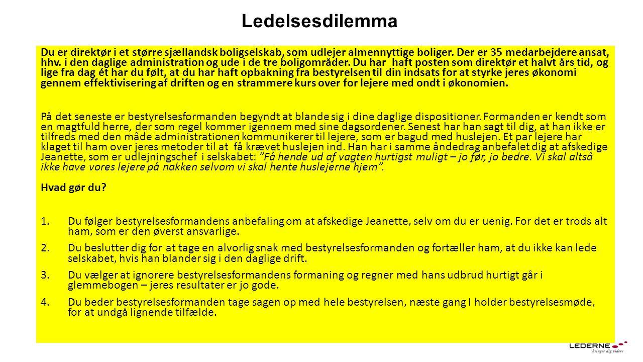 Ledelsesdilemma Du er direktør i et større sjællandsk boligselskab, som udlejer almennyttige boliger.