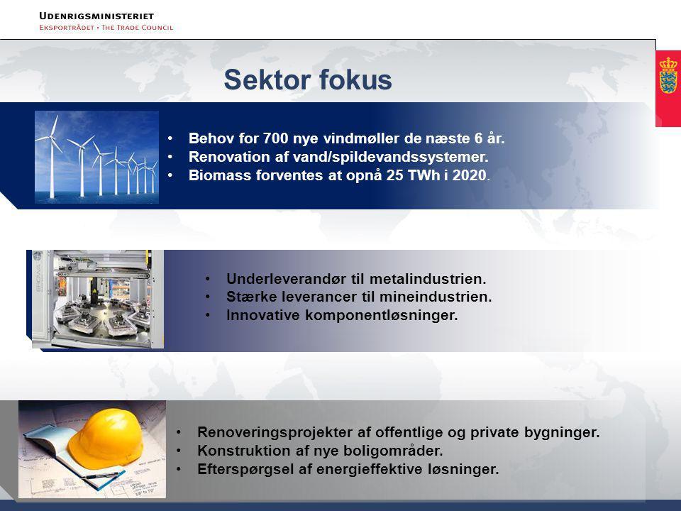 Sektor fokus Industri Behov for 700 nye vindmøller de næste 6 år.