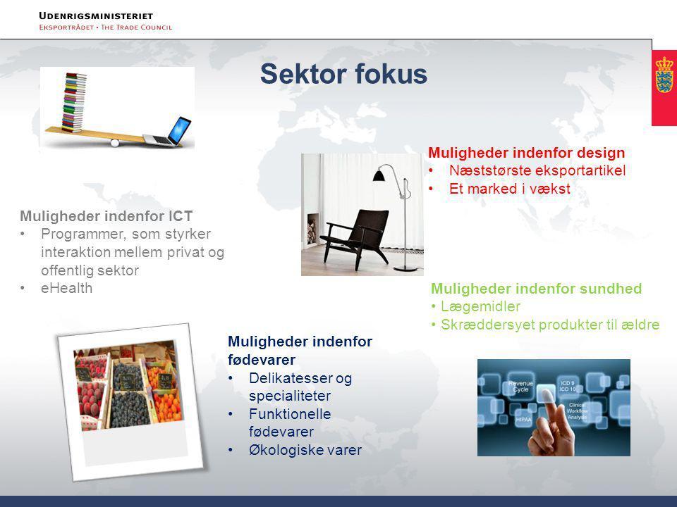 Sektor fokus specialiteter Muligheder indenfor sundhed Lægemidler Skræddersyet produkter til ældre Muligheder indenfor ICT Programmer, som styrker interaktion mellem privat og offentlig sektor eHealth Muligheder indenfor fødevarer Delikatesser og specialiteter Funktionelle fødevarer Økologiske varer Muligheder indenfor design Næststørste eksportartikel Et marked i vækst