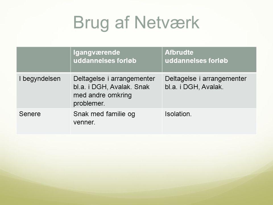 Brug af Netværk Igangværende uddannelses forløb Afbrudte uddannelses forløb I begyndelsenDeltagelse i arrangementer bl.a.