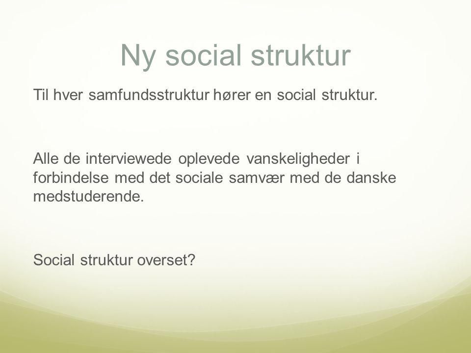 Ny social struktur Til hver samfundsstruktur hører en social struktur.