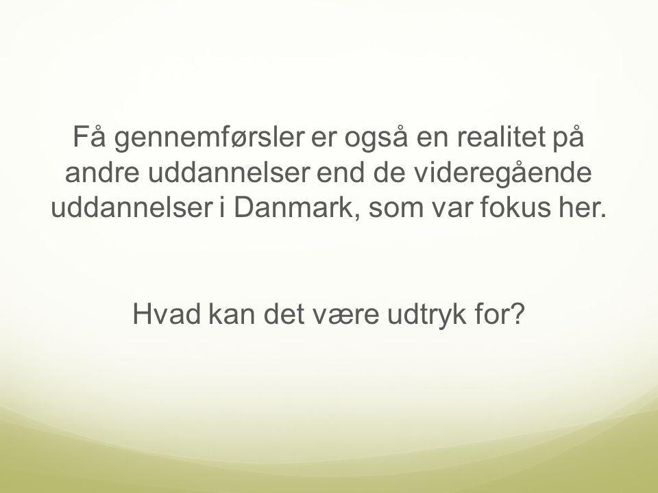 Få gennemførsler er også en realitet på andre uddannelser end de videregående uddannelser i Danmark, som var fokus her.