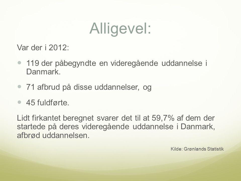 Alligevel: Var der i 2012: 119 der påbegyndte en videregående uddannelse i Danmark.