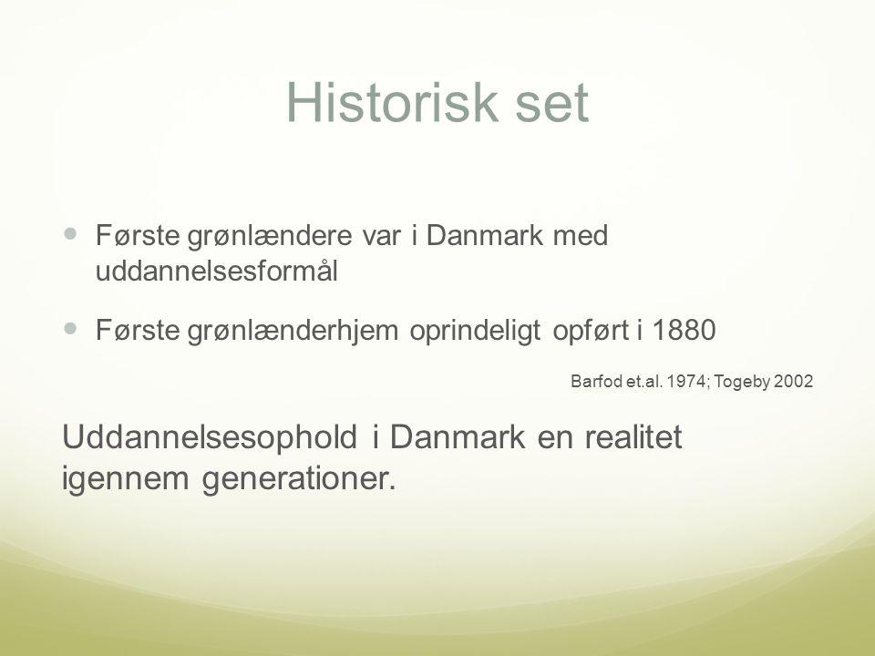 Historisk set Første grønlændere var i Danmark med uddannelsesformål Første grønlænderhjem oprindeligt opført i 1880 Barfod et.al.