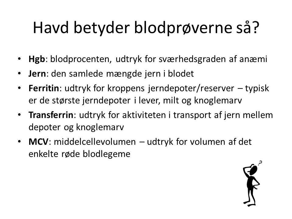 Havd betyder blodprøverne så? Hgb: blodprocenten, udtryk for sværhedsgraden af anæmi Jern: den samlede mængde jern i blodet Ferritin: udtryk for kropp