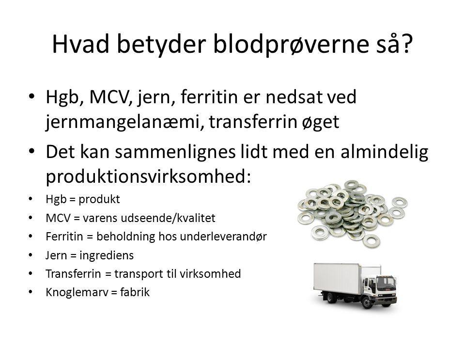 Hvad betyder blodprøverne så? Hgb, MCV, jern, ferritin er nedsat ved jernmangelanæmi, transferrin øget Det kan sammenlignes lidt med en almindelig pro