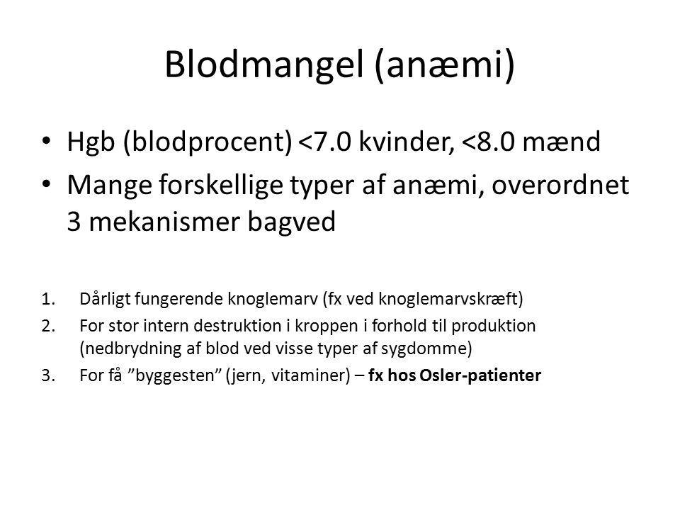 Blodmangel (anæmi) Hgb (blodprocent) <7.0 kvinder, <8.0 mænd Mange forskellige typer af anæmi, overordnet 3 mekanismer bagved 1.Dårligt fungerende kno