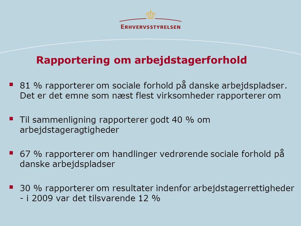 Rapportering om arbejdstagerforhold  81 % rapporterer om sociale forhold på danske arbejdspladser.