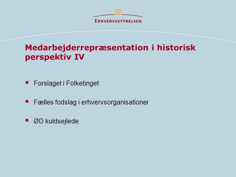 Medarbejderrepræsentation i historisk perspektiv IV  Forslaget i Folketinget  Fælles fodslag i erhvervsorganisationer  ØD kuldsejlede