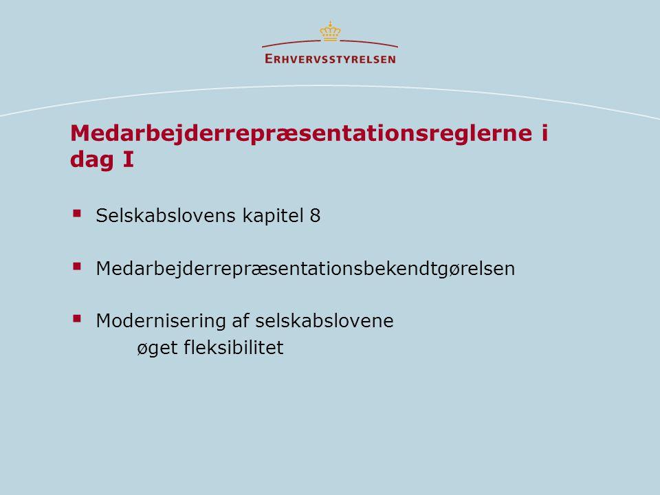 Medarbejderrepræsentationsreglerne i dag I  Selskabslovens kapitel 8  Medarbejderrepræsentationsbekendtgørelsen  Modernisering af selskabslovene øget fleksibilitet