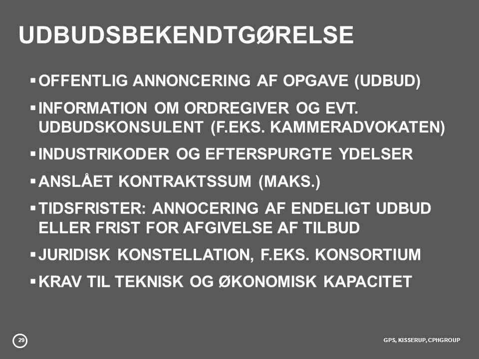 29GPS, KISSERUP, CPHGROUP UDBUDSBEKENDTGØRELSE  OFFENTLIG ANNONCERING AF OPGAVE (UDBUD)  INFORMATION OM ORDREGIVER OG EVT.