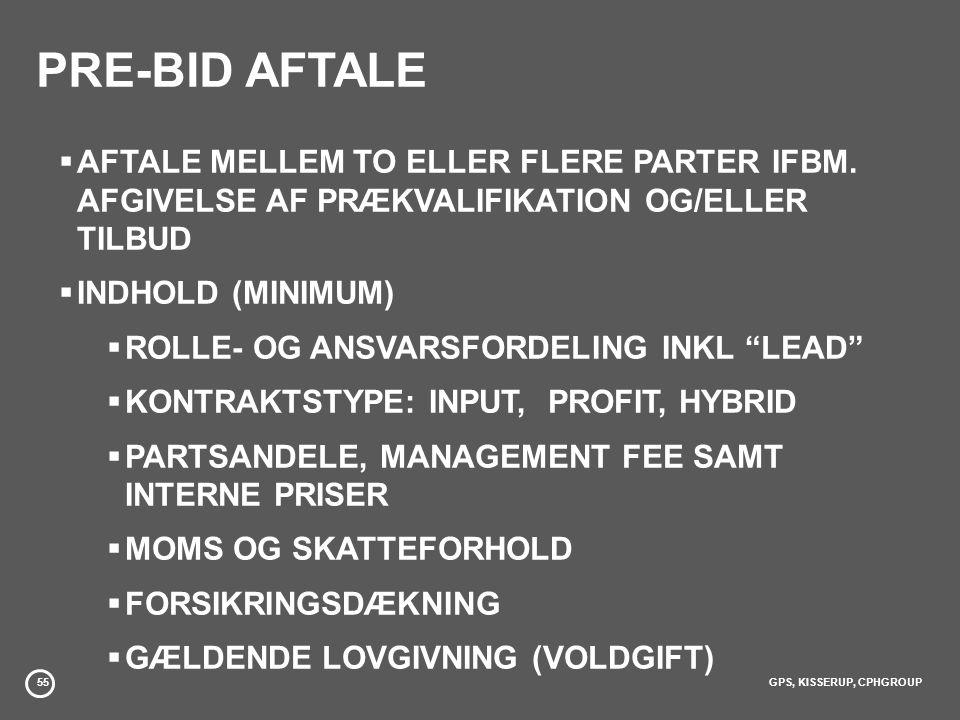 55GPS, KISSERUP, CPHGROUP PRE-BID AFTALE  AFTALE MELLEM TO ELLER FLERE PARTER IFBM.