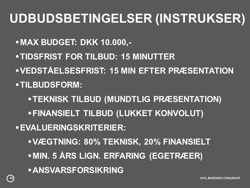 79GPS, KISSERUP, CPHGROUP UDBUDSBETINGELSER (INSTRUKSER)  MAX BUDGET: DKK 10.000,-  TIDSFRIST FOR TILBUD: 15 MINUTTER  VEDSTÅELSESFRIST: 15 MIN EFTER PRÆSENTATION  TILBUDSFORM:  TEKNISK TILBUD (MUNDTLIG PRÆSENTATION)  FINANSIELT TILBUD (LUKKET KONVOLUT)  EVALUERINGSKRITERIER:  VÆGTNING: 80% TEKNISK, 20% FINANSIELT  MIN.