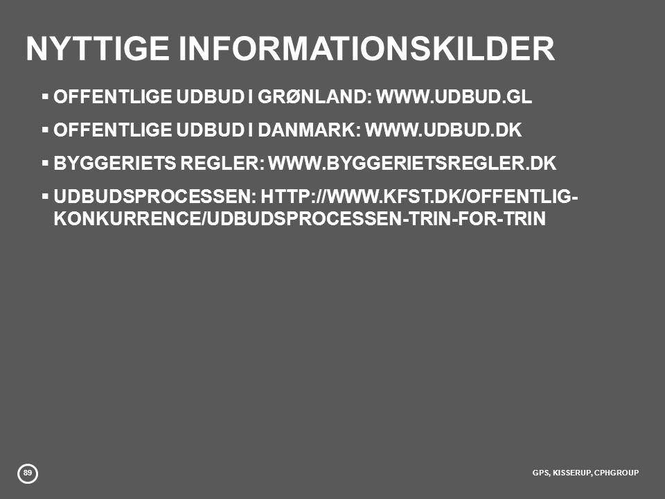 89GPS, KISSERUP, CPHGROUP NYTTIGE INFORMATIONSKILDER  OFFENTLIGE UDBUD I GRØNLAND: WWW.UDBUD.GL  OFFENTLIGE UDBUD I DANMARK: WWW.UDBUD.DK  BYGGERIETS REGLER: WWW.BYGGERIETSREGLER.DK  UDBUDSPROCESSEN: HTTP://WWW.KFST.DK/OFFENTLIG- KONKURRENCE/UDBUDSPROCESSEN-TRIN-FOR-TRIN