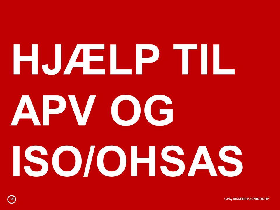 92GPS, KISSERUP, CPHGROUP HJÆLP TIL APV OG ISO/OHSAS