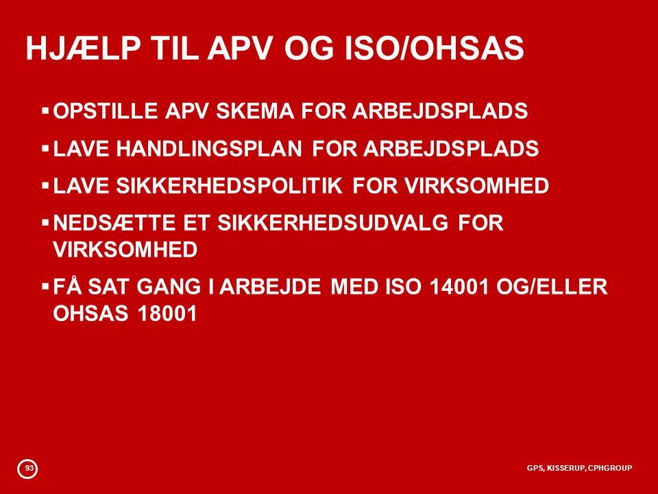 93GPS, KISSERUP, CPHGROUP HJÆLP TIL APV OG ISO/OHSAS  OPSTILLE APV SKEMA FOR ARBEJDSPLADS  LAVE HANDLINGSPLAN FOR ARBEJDSPLADS  LAVE SIKKERHEDSPOLITIK FOR VIRKSOMHED  NEDSÆTTE ET SIKKERHEDSUDVALG FOR VIRKSOMHED  FÅ SAT GANG I ARBEJDE MED ISO 14001 OG/ELLER OHSAS 18001