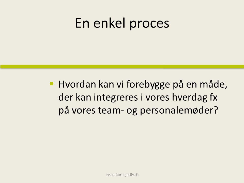 En enkel proces  Hvordan kan vi forebygge på en måde, der kan integreres i vores hverdag fx på vores team- og personalemøder.
