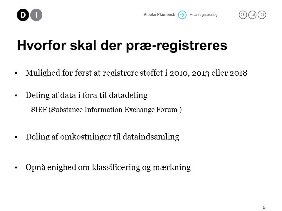 Præ-registrering 28.maj 08 Vibeke Plambeck 5 Hvorfor skal der præ-registreres Mulighed for først at registrere stoffet i 2010, 2013 eller 2018 Deling af data i fora til datadeling SIEF (Substance Information Exchange Forum ) Deling af omkostninger til dataindsamling Opnå enighed om klassificering og mærkning