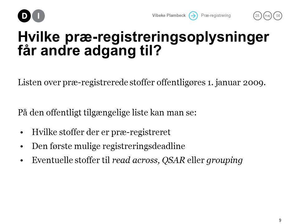 Præ-registrering 28.maj 08 Vibeke Plambeck 9 Hvilke præ-registreringsoplysninger får andre adgang til.