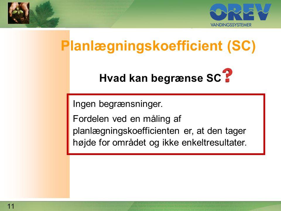 11 Planlægningskoefficient (SC) Hvad kan begrænse SC Ingen begrænsninger.