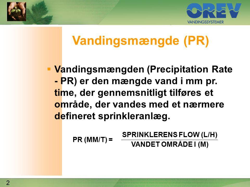 2 Vandingsmængde (PR)  Vandingsmængden (Precipitation Rate - PR) er den mængde vand i mm pr.