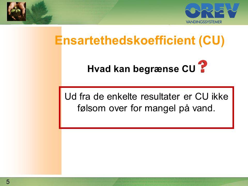 5 Ensartethedskoefficient (CU) Hvad kan begrænse CU Ud fra de enkelte resultater er CU ikke følsom over for mangel på vand.