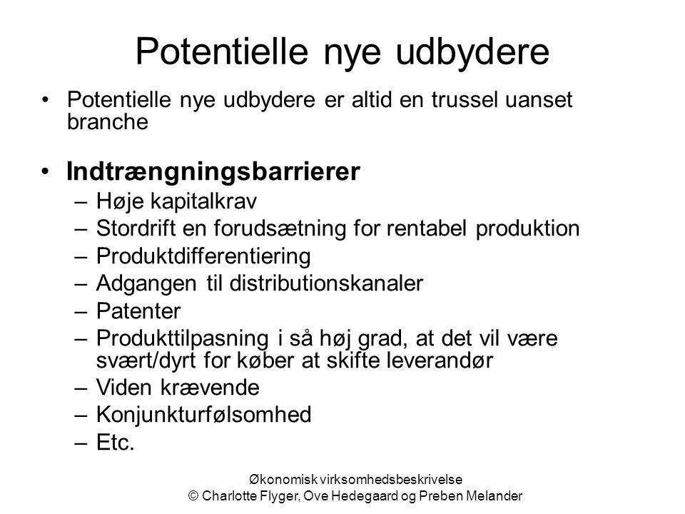 Økonomisk virksomhedsbeskrivelse © Charlotte Flyger, Ove Hedegaard og Preben Melander Potentielle nye udbydere Potentielle nye udbydere er altid en tr
