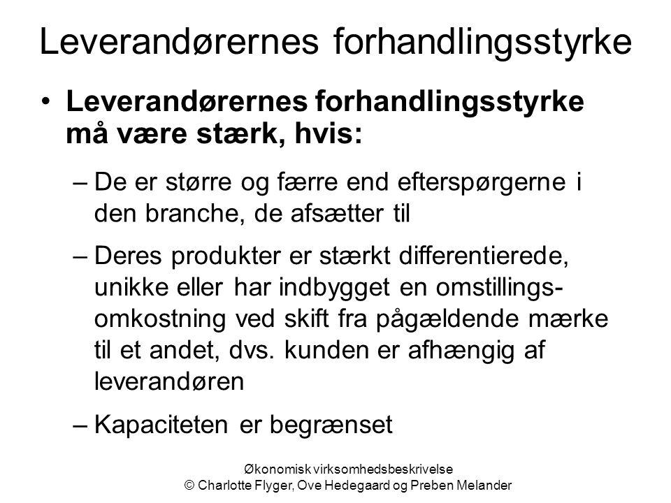 Økonomisk virksomhedsbeskrivelse © Charlotte Flyger, Ove Hedegaard og Preben Melander Leverandørernes forhandlingsstyrke Leverandørernes forhandlingss