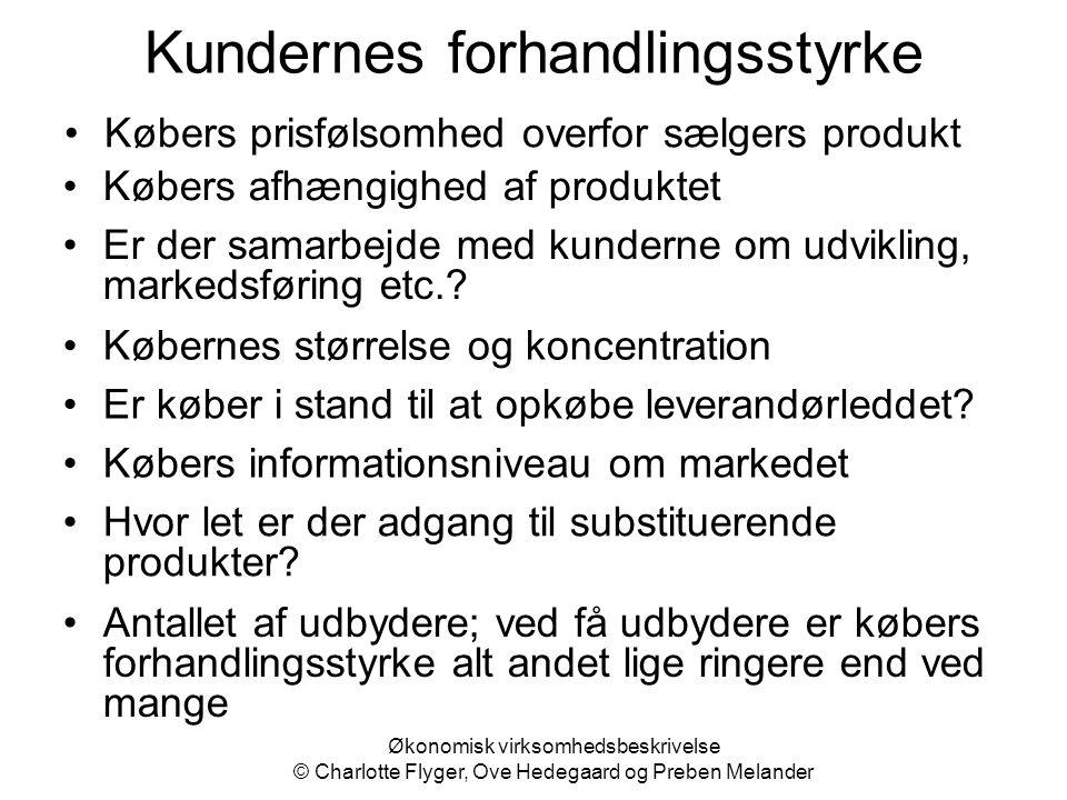 Økonomisk virksomhedsbeskrivelse © Charlotte Flyger, Ove Hedegaard og Preben Melander Kundernes forhandlingsstyrke Købers prisfølsomhed overfor sælger
