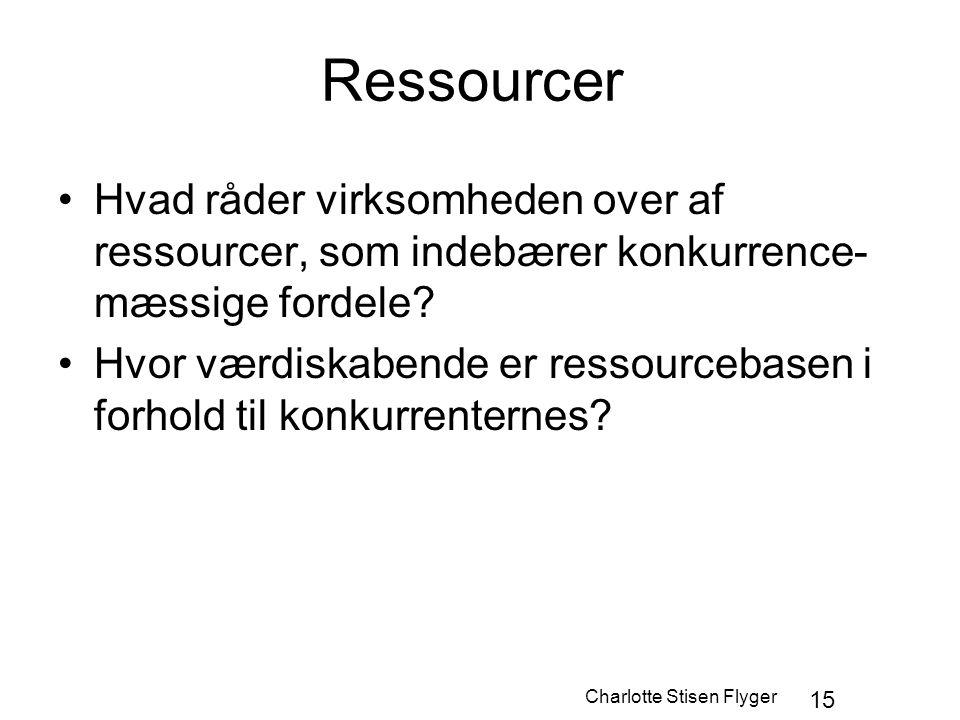 Charlotte Stisen Flyger 15 Ressourcer Hvad råder virksomheden over af ressourcer, som indebærer konkurrence- mæssige fordele? Hvor værdiskabende er re